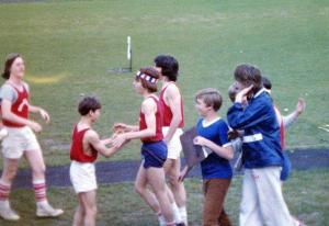 That's me in the cool bicentennial headband after a victory in the 100 yard hurdles.