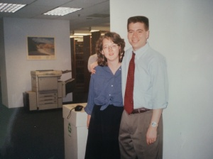An impossibly looking me in my standard-issue librarian vest sometime in the early 1990's.  That's my old pal Gwen, herself a former law librarian and currently one of Chicago's finest academic librarians.  Thanks for the pic, Gwennie!