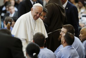 Pope Francis with prisoners at Curran-Fromhold Correctional Facility. Source: PBS