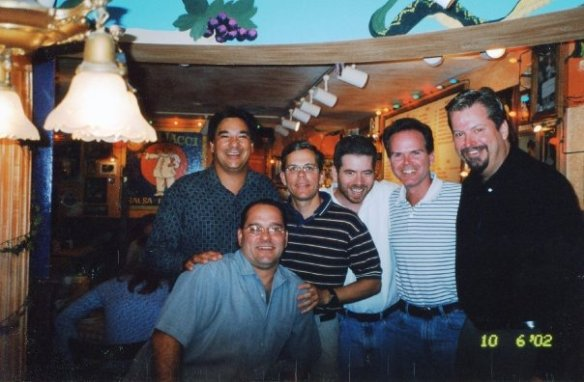 The boyhood gang at a 2002 reunion. Seated in front: Pat. Standing from left: Lee, Doug, myself, Keith, and Dave.